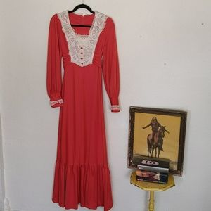 Vintage polyester prairie maxi dress